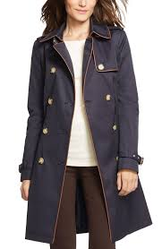 Faux by Lauren Ralph Lauren Faux Leather Trim Trench Coat Regular