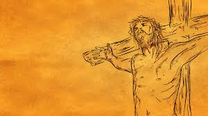 jesus on cross sketch looping animation with alpha channel 4k