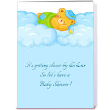 blue clouds sleeping baby shower greeting card by starstock