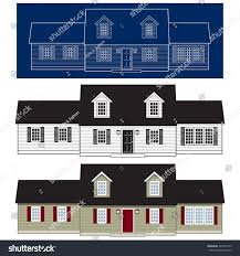 set traditional cape cod style homes stock vector 423251419