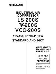 sullair ls v vcc 200s manual 02250145 909 gas compressor valve