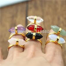crystal stone rings images R15052103 mix color double terminated crystal stone ring gold jpg