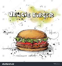 tasty burger sketch watercolor style vector stock vector 165457157