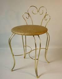 Vintage Vanity Chair Vtg Delta Brass Hollywood Regency Swivel Stool Seat Vanity Chair