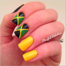 Jamaican Flag Day Playful Polishes 31 Day Nail Art Challenge Inspired By A Flag