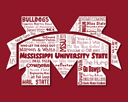 Mississippi State University Campus Map by Original Artwork Using Words To Describe