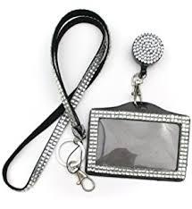 Rhinestone Business Card Holder Amazon Com All In One Rhinestone Lanyard Bling Crystal Badge