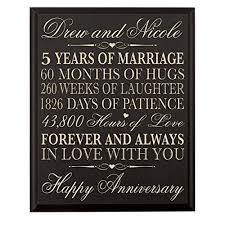 5th wedding anniversary gifts for him personalized 5th wedding anniversary wall plaque gifts for