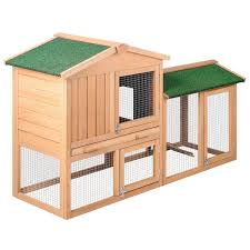 rabbit hutch chicken coop cage guinea pig ferret house w 2