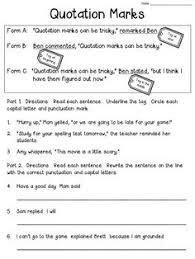 18 best images of quotation mark worksheets for grade 2