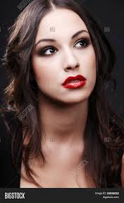 young cute woman black dress red image u0026 photo bigstock
