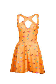 liquorish bird print cut out dress