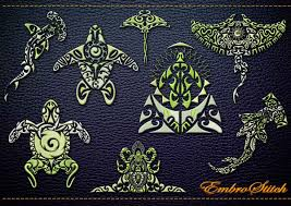 polynesian tattoo fauna embroidery designs pack 1 collection of