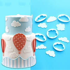 Sugar Cookie Decorating Tools 5pcs Plastic Cloud Cake Cookie Buscuit Cutter Mold Fondant Mould