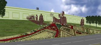 martin l king jr monument 2005 sparcinla 35ft x 350ft laser cut steel mural with landscaping and digital tile created for the 2000ft stretch of the freeway in san diego california