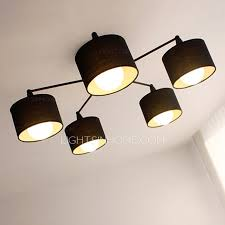 contemporary farbric shade 5 light cheap modern ceiling lights
