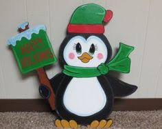 wood yard decoration patterns penguin with