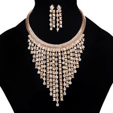 golden fashion necklace images Buy designer golden jewelry set with earrings jpg