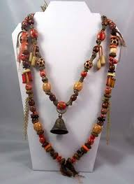 long wood bead necklace images Long tribal necklace boho earthtones wood and glass beads jpg