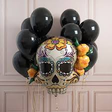 halloween sugar skull party balloons by bubblegum balloons