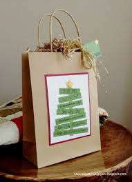 small bits of paper christmas tree gift bag