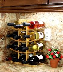 wood wine rack 12 bottle holder compact storage home bar