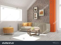 room sofa brick wall scandinavian stock illustration