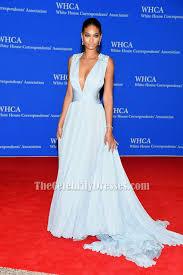 chanel iman light sky blue evening dress 2015 white house