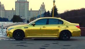 bmw e60 gold a shimmering gold plated bmw m5 spotted in russia luxurylaunches