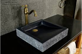 Black Bathroom Sink Granite Stone Basin Borneo Shadow