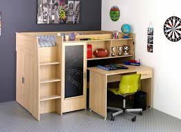 wood loft bed with desk underneath for home