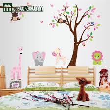 stickers pour chambre enfant mignon jungle animaux arbre singe wall sticker pour chambres d