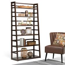 Sauder Ladder Bookcase by Simpli Home Acadian Tobacco Brown Ladder Bookcase Axss008kdw The