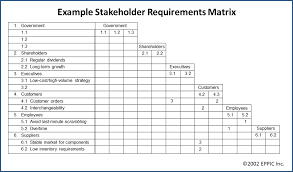 stakeholder requirements matrix example guy wallace article work