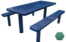 commercial picnic table plastisol coated perforated metal