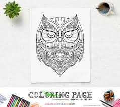 printable coloring pages owl head animal coloring page
