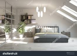 white modern bedroom scandinavian interior design stock