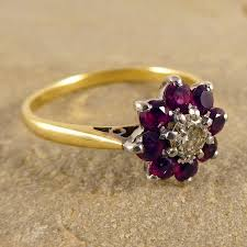 vintage flower rings images Vintage ruby and diamond cluster ring in 18ct gold and platinum jpg