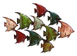 amazon com deco 79 63533 metal fish wall decor home kitchen