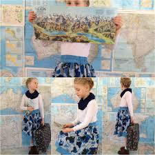 Map Fabric Double Layer Ruffle Skirt All The Skirts Jocole U0026 Urban Sew