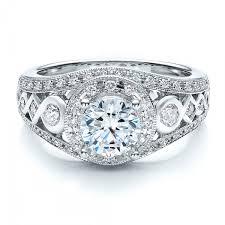 flat engagement rings halo prong set engagement ring vanna k 100065
