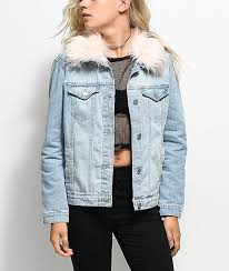 Light Denim Jacket Almost Famous Light Wash U0026 Pink Fur Collar Denim Jacket Zumiez