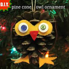 laurie d i y pine cone owl ornament