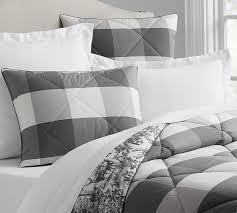 Pottery Barn Down Comforter And Charcoal Buffalo Check Duvet Cover Reversible Comforter Sham