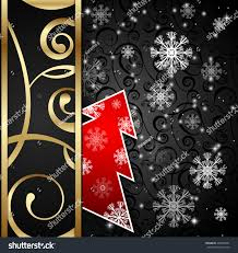 vector illustration black paper craft vertical postcard with red
