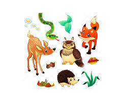 cartoon forest with friendly animals vector illustration cartoon