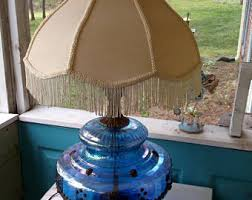 Blue Glass Table Lamp Blue Glass Lamp Etsy