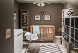 Modern Nursery Furniture Sets Apartment Baby Nursery Room Come With Brown Wall Finish And Wooden