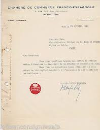chambre de commerce franco espagnole chambre de commerce franco espagnole 1940s autograph signed