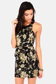 black and gold dress black dress floral print dress gold dress peplum dress
